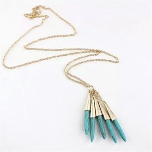 Jewelry - BOGO FREE Trendy Long Blue Shell Necklace